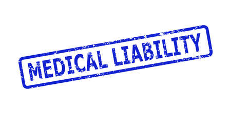 Blue MEDICAL LIABILITY stamp on a white background. Flat vector scratched stamp with MEDICAL LIABILITY title is inside rounded rectangular frame. Watermark with scratched style. Vector Illustration