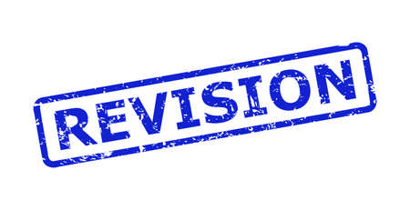 Blue REVISION watermark on a white background. Flat vector textured watermark with REVISION caption is inside rounded rectangle frame. Watermark with grunge surface.