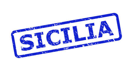 Blue SICILIA seal stamp on a white background. Flat vector distress seal stamp with SICILIA message is placed inside rounded rect frame. Watermark with scratched surface.