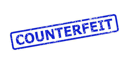 Blue COUNTERFEIT stamp seal on a white background. Flat vector distress seal stamp with COUNTERFEIT message is placed inside rounded rectangle frame. Watermark with corroded style.