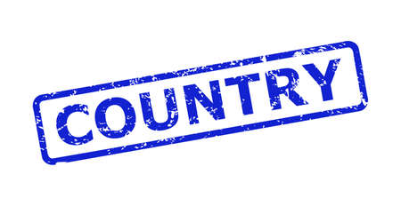 Blue COUNTRY seal stamp on a white background. Flat vector scratched stamp with COUNTRY caption is inside rounded rectangular frame. Imprint with scratched texture.