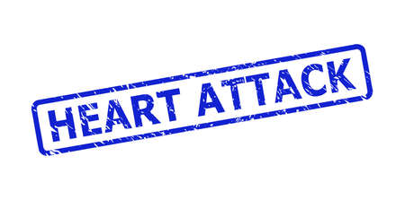 Blue HEART ATTACK seal on a white background. Flat vector scratched seal stamp with HEART ATTACK caption is placed inside rounded rectangle frame. Rubber imitation with scratched texture.