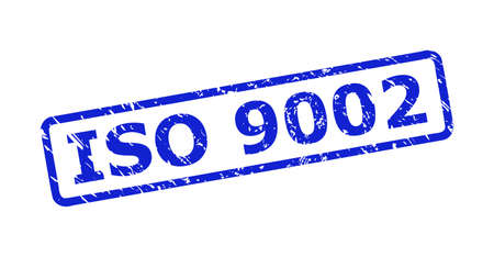 Blue ISO 9002 seal stamp on a white background. Flat vector grunge seal with ISO 9002 phrase is placed inside rounded rectangle frame. Imprint with grunge surface.