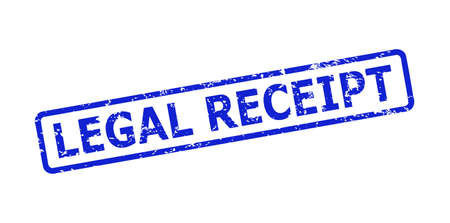 Blue LEGAL RECEIPT seal on a white background. Flat vector distress stamp with LEGAL RECEIPT phrase is inside rounded rectangular frame. Imprint with distress surface.