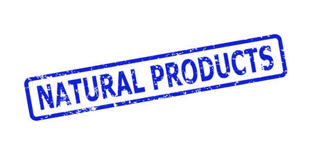 Blue NATURAL PRODUCTS seal stamp on a white background. Flat vector grunge seal stamp with NATURAL PRODUCTS caption is inside rounded rectangular frame. Rubber imitation with grunged surface.