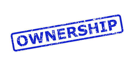 Blue OWNERSHIP seal on a white background. Flat vector distress seal with OWNERSHIP message is placed inside rounded rectangle frame. Imprint with distress texture. 向量圖像