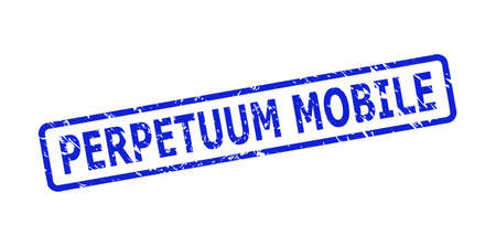 Blue PERPETUUM MOBILE watermark on a white background. Flat vector scratched watermark with PERPETUUM MOBILE title is inside rounded rectangular frame. Watermark with scratched surface. Vector Illustratie
