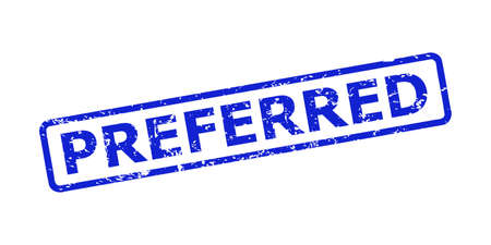 Blue PREFERRED seal stamp on a white background. Flat vector textured seal stamp with PREFERRED title is placed inside rounded rectangle frame. Watermark with distress surface.
