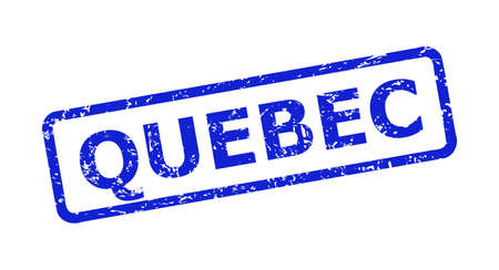 Blue QUEBEC seal on a white background. Flat vector distress seal with QUEBEC message is placed inside rounded rectangular frame. Rubber imitation with distress texture.
