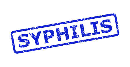 Blue SYPHILIS stamp seal on a white background. Flat vector scratched seal stamp with SYPHILIS caption is placed inside rounded rectangle frame. Watermark with grunged texture.