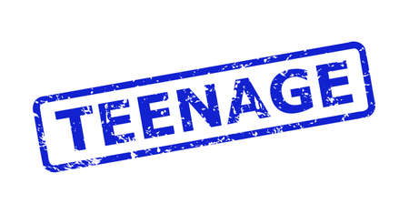 Blue TEENAGE stamp seal on a white background. Flat vector scratched seal stamp with TEENAGE title is inside rounded rectangular frame. Rubber imitation with corroded style. Vetores