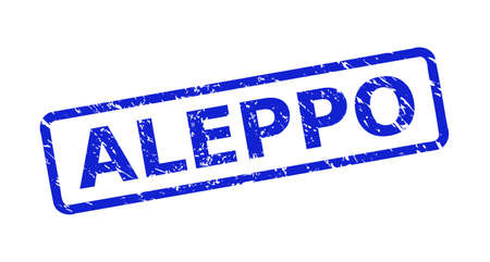Blue ALEPPO watermark on a white background. Flat vector grunge watermark with ALEPPO text is placed inside rounded rectangular frame. Watermark with grunge surface.