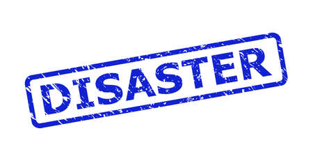 Blue DISASTER seal stamp on a white background. Flat vector distress seal stamp with DISASTER phrase is inside rounded rectangular frame. Imprint with grunge surface.