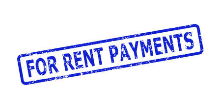 Blue FOR RENT PAYMENTS watermark on a white background. Flat vector grunge watermark with FOR RENT PAYMENTS message is inside rounded rectangle frame. Watermark with grunge style.