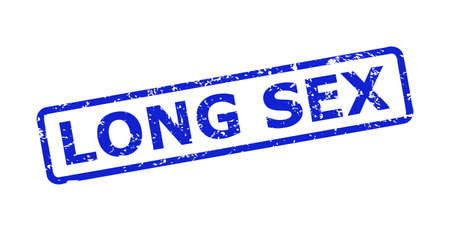 Blue LONG SEX seal on a white background. Flat vector scratched seal with LONG SEX caption is inside rounded rectangle frame. Rubber imitation with scratched surface.