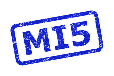 Blue MI5 seal stamp on a white background. Flat vector distress seal stamp with MI5 text is placed inside rounded rectangular frame. Rubber imitation with scratched surface.