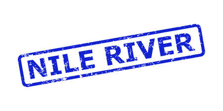 Blue NILE RIVER stamp on a white background. Flat vector scratched seal stamp with NILE RIVER text is placed inside rounded rect frame. Imprint with scratched texture.