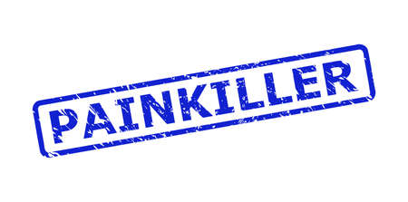 Blue PAINKILLER seal stamp on a white background. Flat vector scratched seal stamp with PAINKILLER phrase is inside rounded rect frame. Imprint with grunged style.