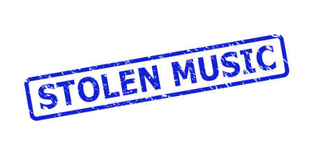 Blue STOLEN MUSIC watermark on a white background. Flat vector scratched watermark with STOLEN MUSIC phrase is inside rounded rectangular frame. Watermark with unclean texture.