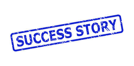 Blue SUCCESS STORY stamp seal on a white background. Flat vector scratched seal stamp with SUCCESS STORY phrase is placed inside rounded rectangle frame. Rubber imitation with grunge style.