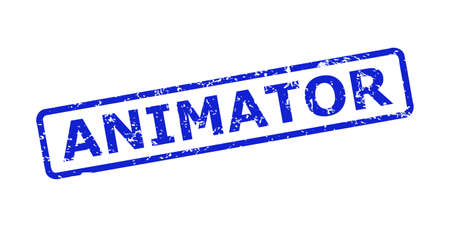 Blue ANIMATOR seal stamp on a white background. Flat vector distress seal stamp with ANIMATOR caption is inside rounded rectangle frame. Rubber imitation with scratched style.