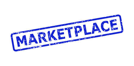 Blue MARKETPLACE seal stamp on a white background. Flat vector textured seal stamp with MARKETPLACE text is inside rounded rectangle frame. Imprint with scratched style.