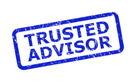 Blue TRUSTED ADVISOR watermark on a white background. Flat vector textured watermark with TRUSTED ADVISOR text is inside rounded rect frame. Watermark with distress texture.