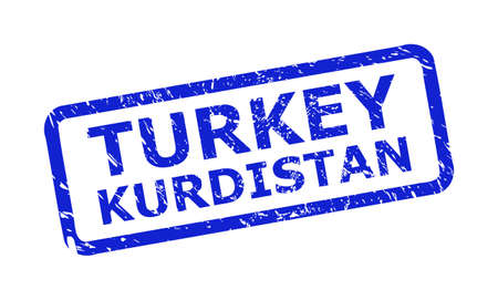 Blue TURKEY KURDISTAN seal stamp on a white background. Flat vector distress stamp with TURKEY KURDISTAN caption is placed inside rounded rectangle frame. Watermark with corroded texture.