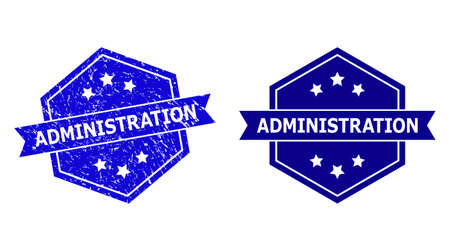 Hexagon ADMINISTRATION watermark on a white background, with undamaged variant. Flat vector blue scratched seal stamp with ADMINISTRATION text inside hexagon form, ribbon is used. Vecteurs