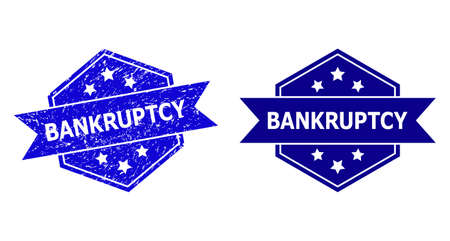 Hexagonal BANKRUPTCY watermark on a white background, with undamaged version. Flat vector blue scratched watermark with BANKRUPTCY message inside hexagoanl shape, ribbon used also.