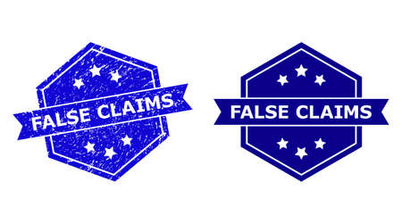 Hexagon FALSE CLAIMS watermark on a white background, with source version. Flat vector blue scratched stamp with FALSE CLAIMS message inside hexagon form, ribbon used. Watermark with scratched style.