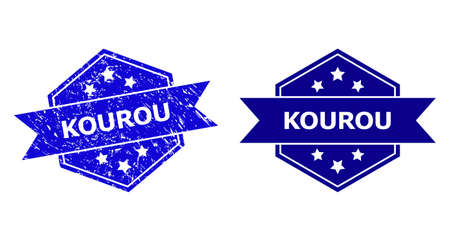 Hexagon KOUROU seal stamp on a white background, with undamaged variant. Flat vector blue textured seal stamp with KOUROU title inside hexagon shape, ribbon used. Watermark with unclean style.
