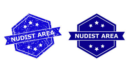 Hexagon NUDIST AREA seal stamp on a white background, with undamaged variant. Flat vector blue textured seal stamp with NUDIST AREA phrase inside hexagoanl form, ribbon used also.