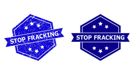 Hexagon STOP FRACKING seal stamp on a white background, with original version. Flat vector blue distress seal stamp with STOP FRACKING text inside hexagoanl form, ribbon is used also.
