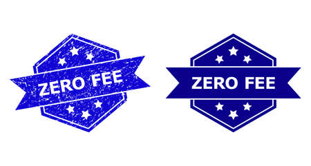 Hexagon ZERO FEE stamp on a white background, with original variant. Flat vector blue textured seal stamp with ZERO FEE message inside hexagon shape, ribbon is used also. Imprint with unclean surface.