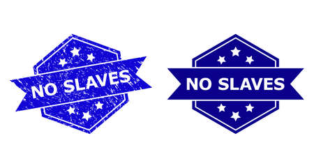 Hexagonal NO SLAVES stamp seal on a white background, with clean version. Flat vector blue scratched seal with NO SLAVES title inside hexagoanl shape, ribbon is used also.
