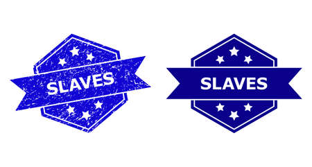 Hexagon SLAVES watermark on a white background, with source version. Flat vector blue grunge watermark with SLAVES message inside hexagon shape, ribbon is used. Watermark with scratched surface. 向量圖像