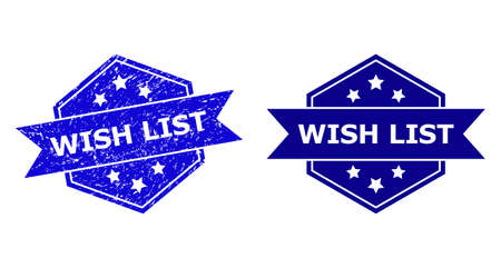 Hexagon WISH LIST stamp on a white background, with original version. Flat vector blue scratched stamp with WISH LIST text inside hexagon shape, ribbon is used. Ilustração