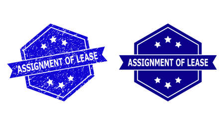 Hexagon ASSIGNMENT OF LEASE seal stamp on a white background, with original variant. Flat vector blue grunge stamp with ASSIGNMENT OF LEASE text inside hexagon shape, ribbon used also. Vetores