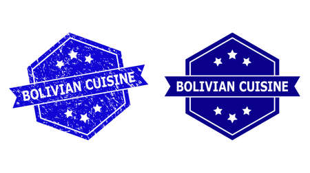 Hexagon BOLIVIAN CUISINE watermark on a white background, with original version. Flat vector blue distress watermark with BOLIVIAN CUISINE message inside hexagoanl form, ribbon used also.