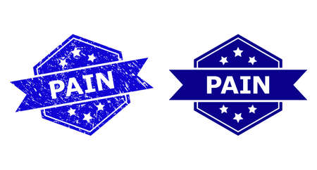 Hexagonal PAIN stamp seal on a white background, with clean variant. Flat vector blue distress seal stamp with PAIN caption inside hexagoanl shape, ribbon is used. Watermark with grunged surface. 向量圖像