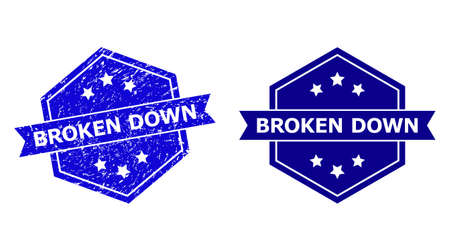 Hexagon BROKEN DOWN seal stamp on a white background, with source version. Flat vector blue distress seal stamp with BROKEN DOWN phrase inside hexagon shape, ribbon used.