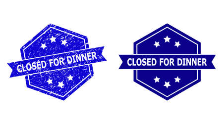 Hexagon CLOSED FOR DINNER seal on a white background, with undamaged variant. Flat vector blue scratched seal with CLOSED FOR DINNER caption inside hexagon shape, ribbon is used.