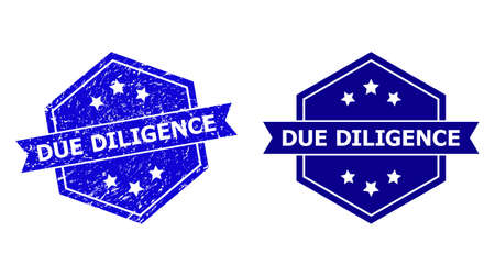 Hexagon DUE DILIGENCE seal stamp on a white background, with undamaged variant. Flat vector blue grunge seal stamp with DUE DILIGENCE phrase inside hexagon shape, ribbon used also.