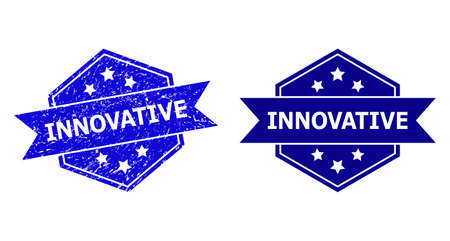Hexagon INNOVATIVE stamp seal on a white background, with source variant. Flat vector blue grunge watermark with INNOVATIVE message inside hexagon shape, ribbon used. Watermark with unclean style.