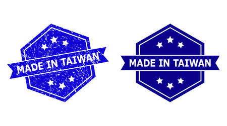 Hexagon MADE IN TAIWAN stamp seal on a white background, with undamaged variant. Flat vector blue textured watermark with MADE IN TAIWAN title inside hexagon form, ribbon is used.