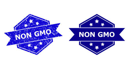 Hexagon NON GMO seal stamp on a white background, with source variant. Flat vector blue scratched seal stamp with NON GMO title inside hexagon form, ribbon is used also. Imprint with grunge texture.