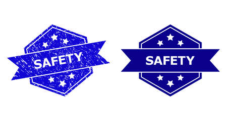 Hexagon SAFETY stamp seal on a white background, with clean version. Flat vector blue textured seal stamp with SAFETY text inside hexagon form, ribbon is used also. Imprint with unclean style.
