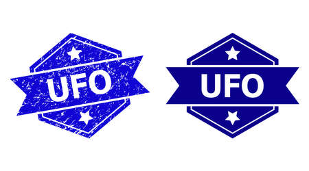 Hexagon UFO stamp seal on a white background, with undamaged version. Flat vector blue textured stamp with UFO text inside hexagon shape, ribbon used also. Rubber imitation with grunge surface.