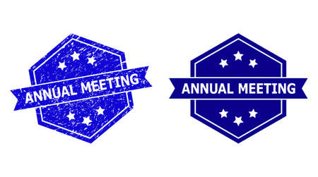 Hexagon ANNUAL MEETING seal on a white background, with clean variant. Flat vector blue distress seal stamp with ANNUAL MEETING caption inside hexagon form, ribbon used also.